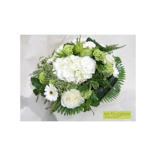 Bouquet rond blanc vert 4